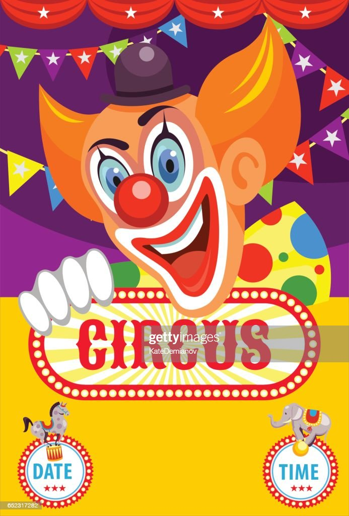 Circus poster. Happy clown invites you to the circus. Trained animals. Vector illustration.