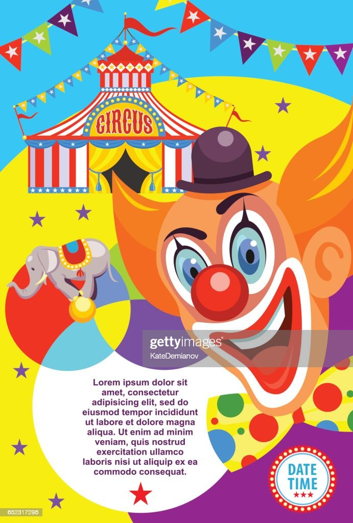 Circus poster. Happy clown invites you to the circus. Vector illustration.