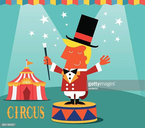 illustrations, cliparts, dessins animés et icônes de circus monsieur loyal - chapiteau de cirque