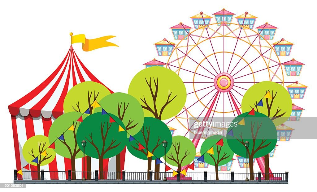 Circus scene  tent ferris wheel