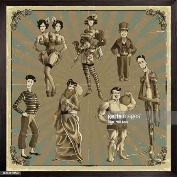 zirkus-show-reihe. retro-stil - 19. jahrhundert stock-grafiken, -clipart, -cartoons und -symbole