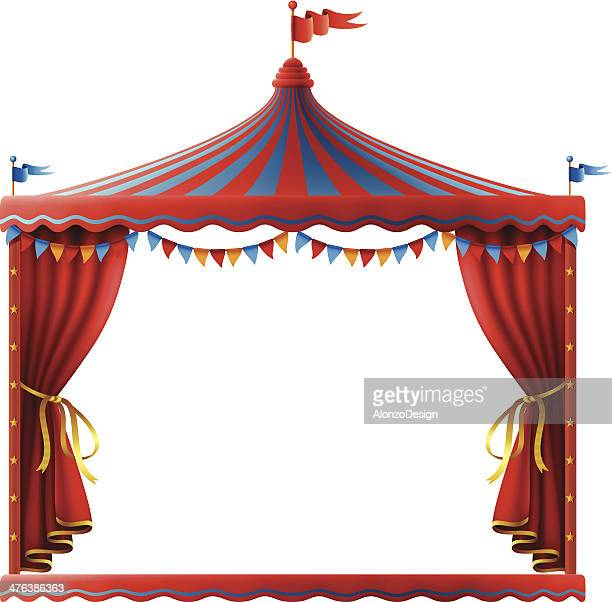 circus stage sign - tent stock illustrations, clip art, cartoons, & icons