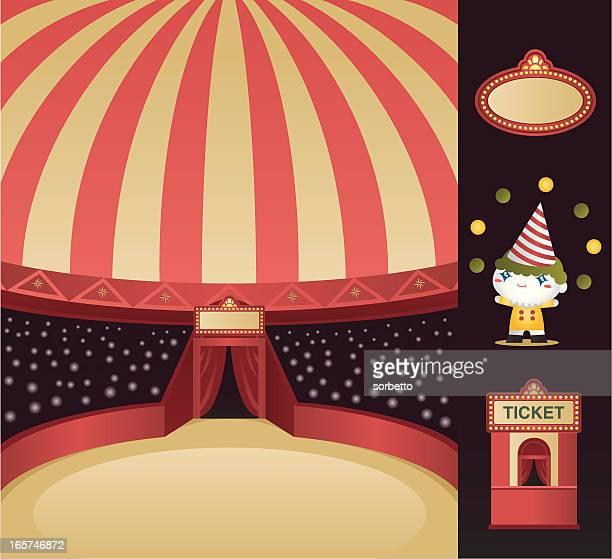 ilustraciones, imágenes clip art, dibujos animados e iconos de stock de circus etapa de - carpa de circo