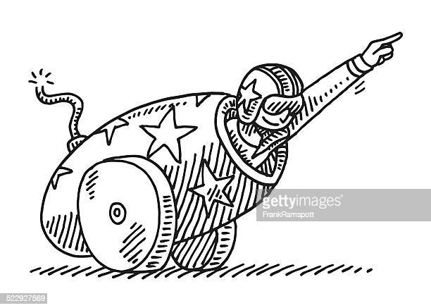circus stunt cannon brave artist drawing - courage stock illustrations