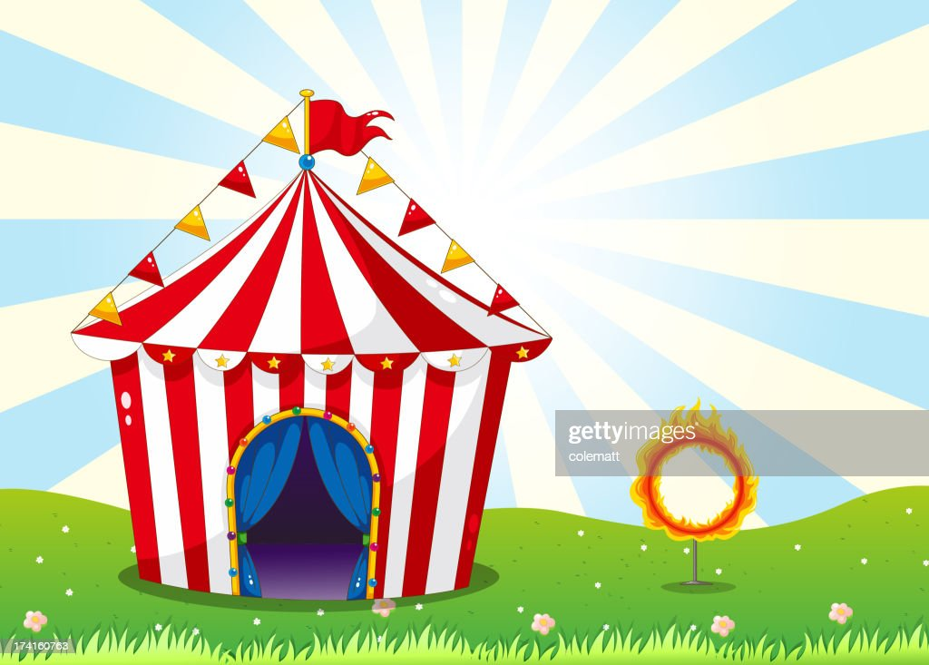 Circus tent and the ring with fire