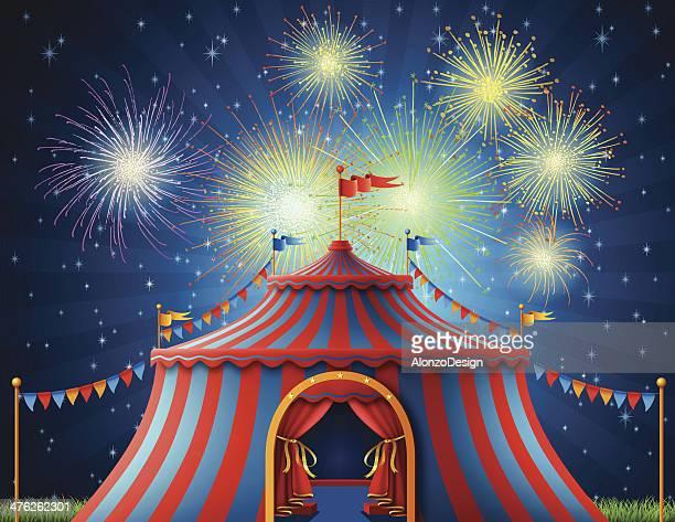 ilustraciones, imágenes clip art, dibujos animados e iconos de stock de vista nocturna de la carpa de circo - carpa de circo
