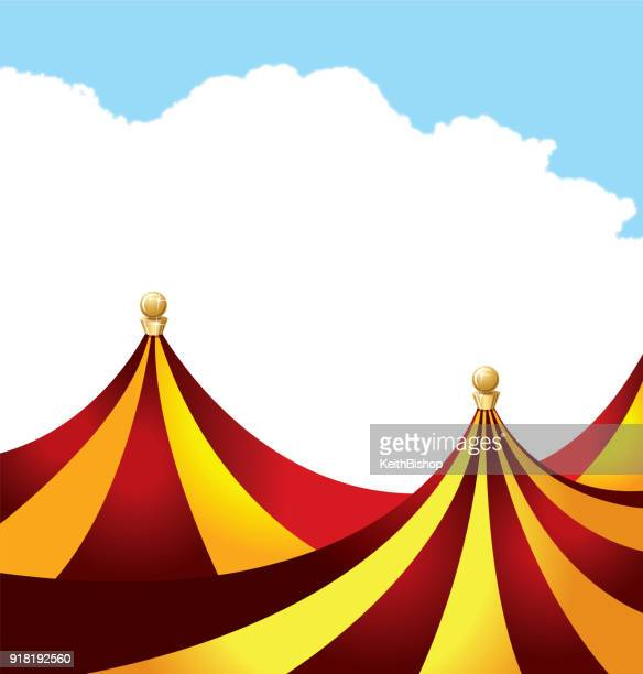 circus tent, big top background with blue sky - circus tent stock illustrations, clip art, cartoons, & icons