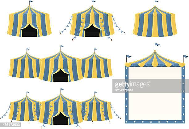 circus tent collection - circus tent stock illustrations, clip art, cartoons, & icons