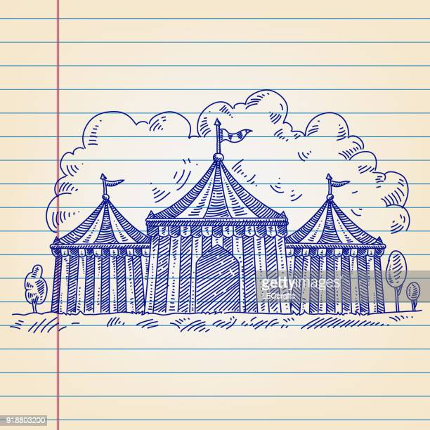 circus tent drawing on lined paper - circus tent stock illustrations, clip art, cartoons, & icons