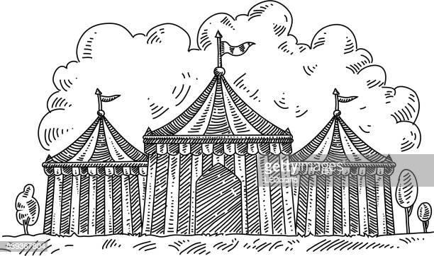 ilustraciones, imágenes clip art, dibujos animados e iconos de stock de carpa de circo de dibujo - carpa de circo