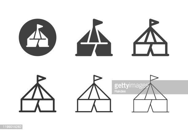 ilustraciones, imágenes clip art, dibujos animados e iconos de stock de iconos de carpas de circo - multi series - carpa de circo
