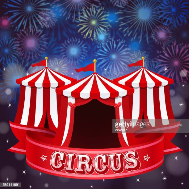 circus tent in firework background - gala stock illustrations
