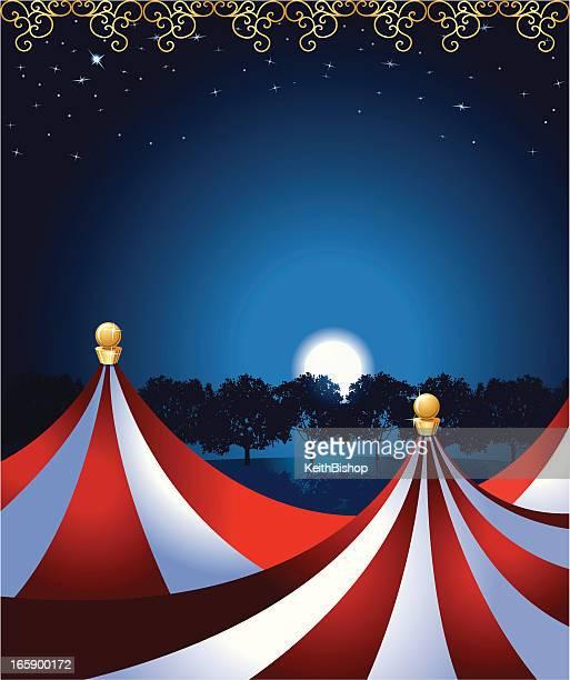 circus tent under the moonlight - circus tent stock illustrations, clip art, cartoons, & icons