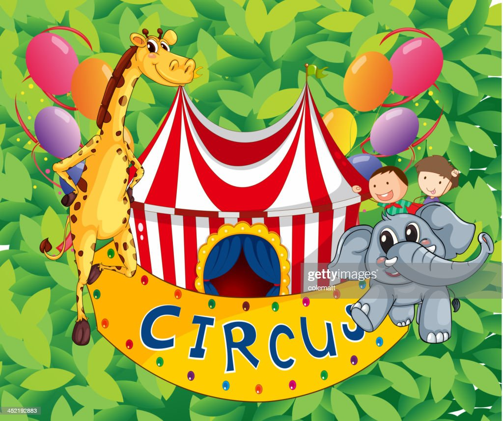 Circus tent with animals and kids