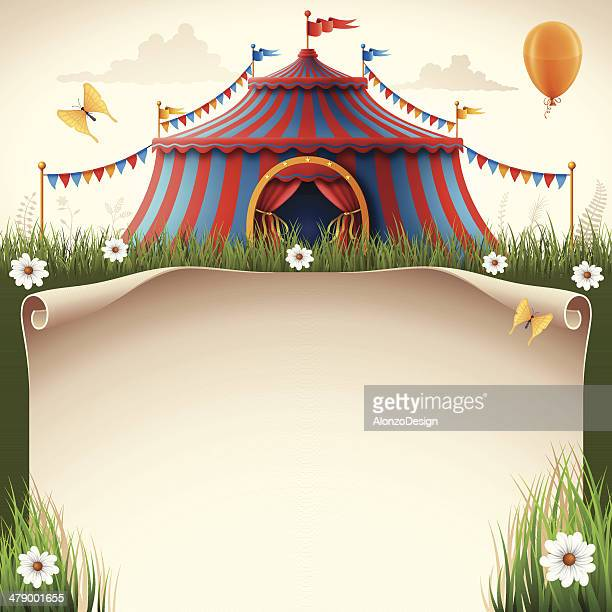 circus tent with scroll - fairground stock illustrations
