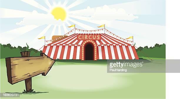 illustrations, cliparts, dessins animés et icônes de chapiteau de cirque avec panneau en bois - chapiteau de cirque