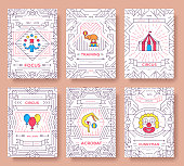 circus thin line brochure cards set. Festival traditional template of flyer, magazines, posters, book cover, banners. Devices outline invitation concept background. Layout quality modern pages