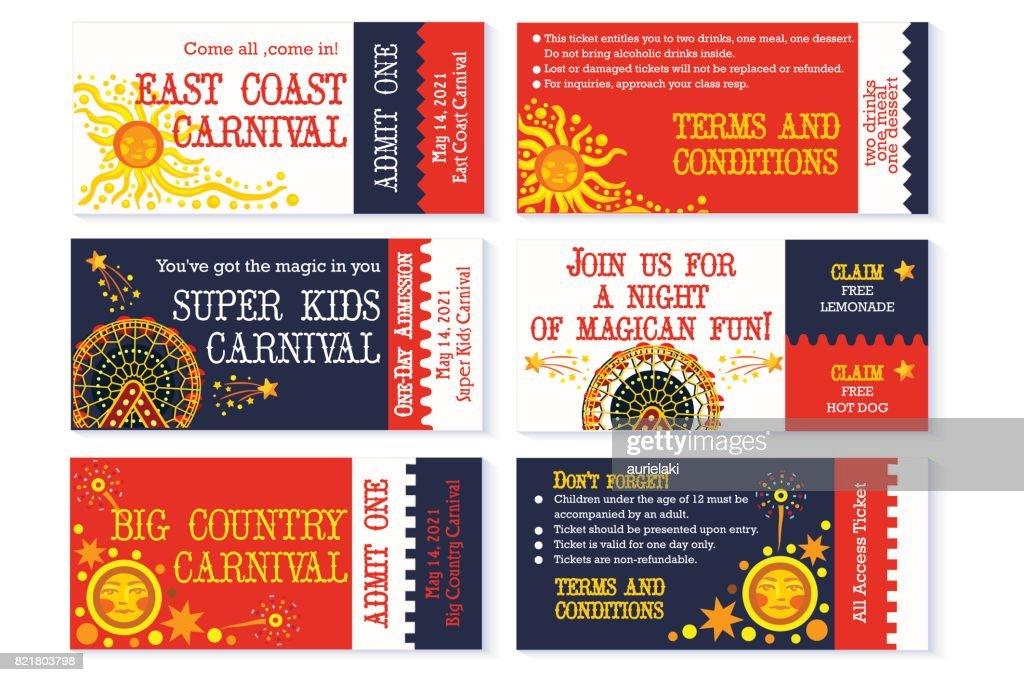 Circus Ticket Carnival Birthday Invitation