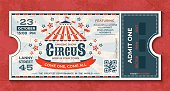 Circus tickets. Vintage carnival event banner, retro luxury coupon with marquee and party announcement. Vector circus greeting card