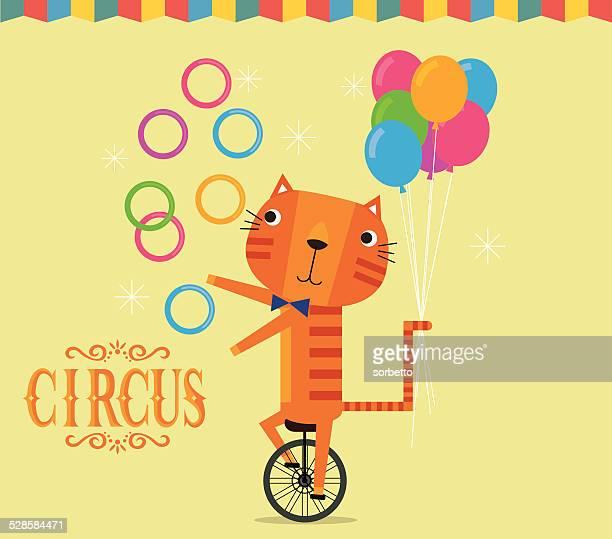 circus tiger juggling - juggling stock illustrations, clip art, cartoons, & icons