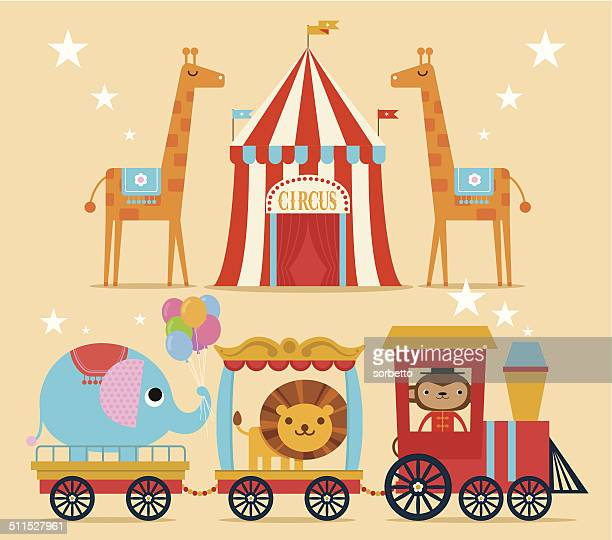 illustrations, cliparts, dessins animés et icônes de circus de train - chapiteau de cirque