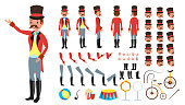 Circus Trainer Vector. Animated Character Creation Set. Full Length, Front, Side, Back View, Accessories, Poses, Face Emotions, Hairstyle, Gestures. Isolated Flat Cartoon Illustration