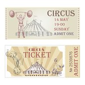 Circus vector horizontal tickets front side.