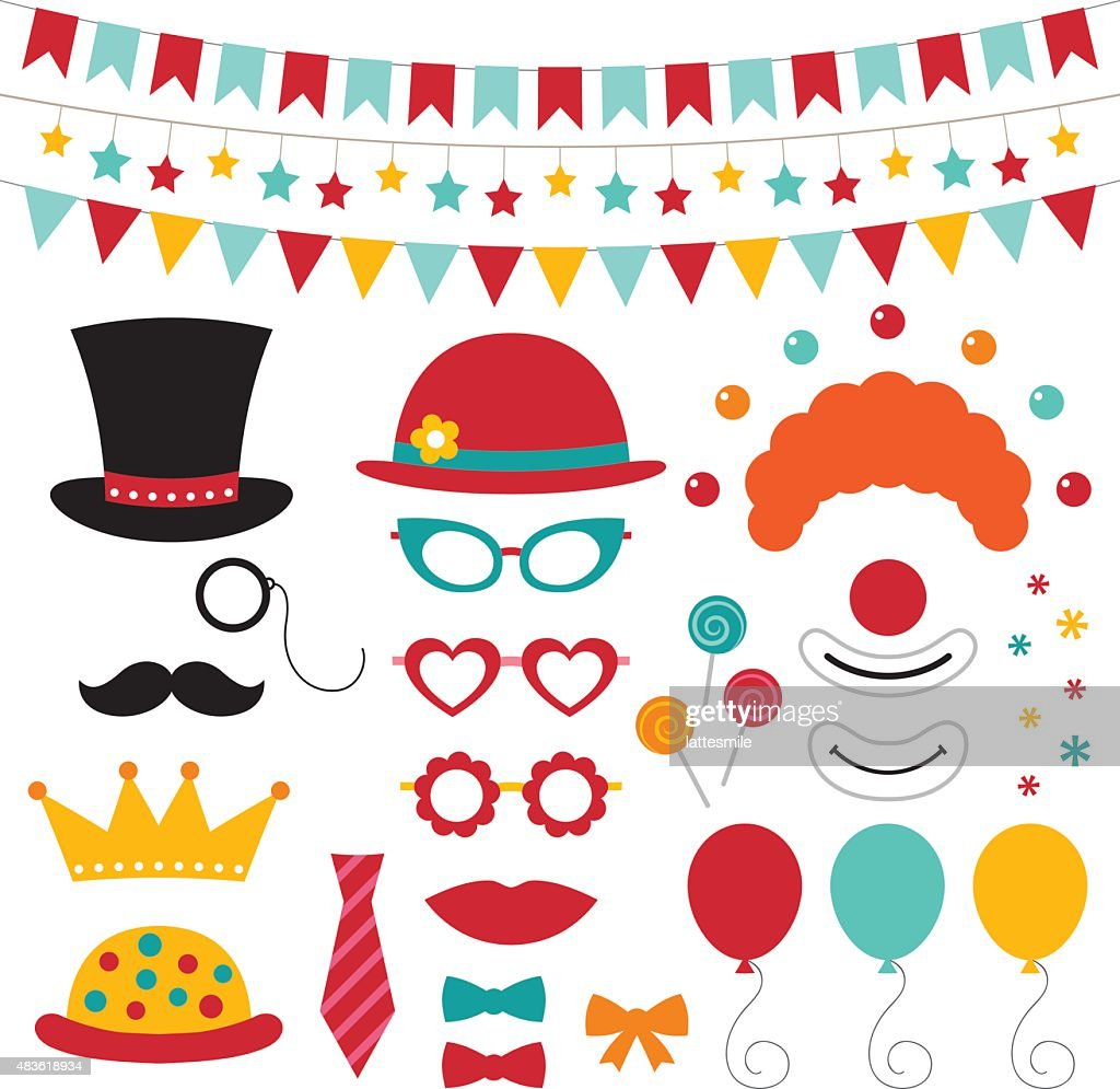 Circus vector photo booth props and decoration