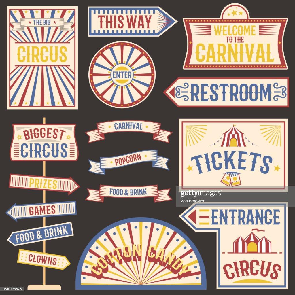 Circus vintage labels banner vector illustration.