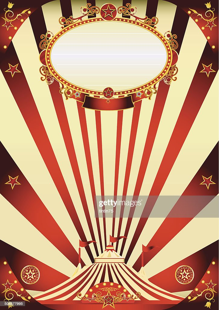 circus vintage red and cream poster : Vector Art