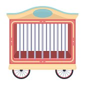 Circus wagon icon in cartoon style isolated on white background.