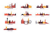 UK cities icons set skyline vector pack