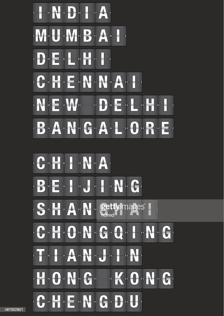 Cities in China and India Airport Flip Board