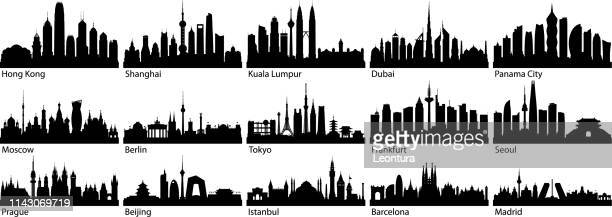 cities (all buildings are complete and moveable) - famous place stock illustrations