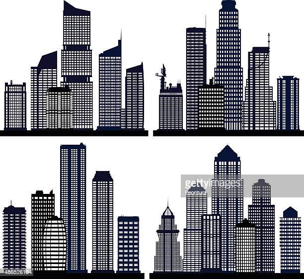 cities (each building is separate and complete) - generic description stock illustrations, clip art, cartoons, & icons