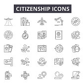 Citizenship line icons for web and mobile design. Editable stroke signs. Citizenship  outline concept illustrations