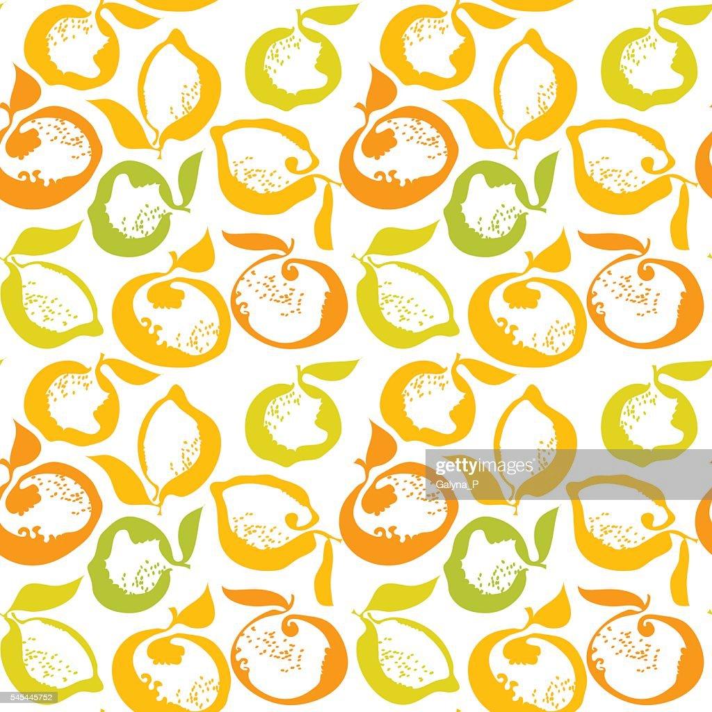 citrus fruit lemon and orange decorative pattern. vector illustr