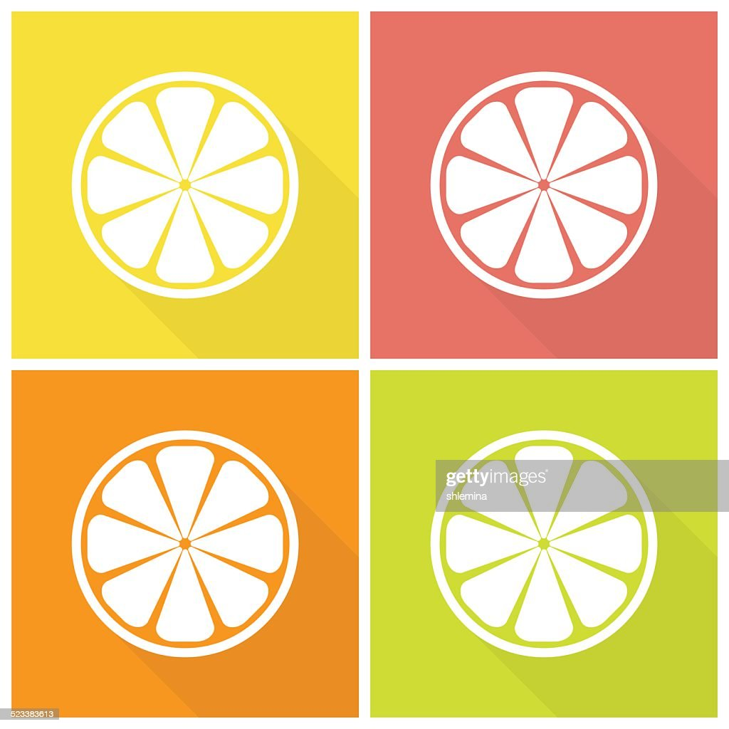 Citrus fruits icons
