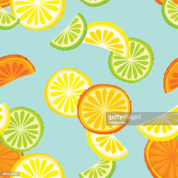Citrus fruits seamless pattern