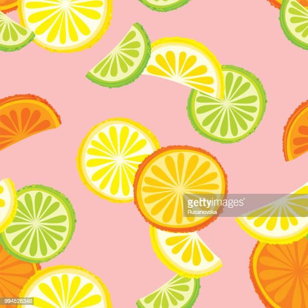 citrus fruits seamless pattern - citrus fruit stock illustrations, clip art, cartoons, & icons