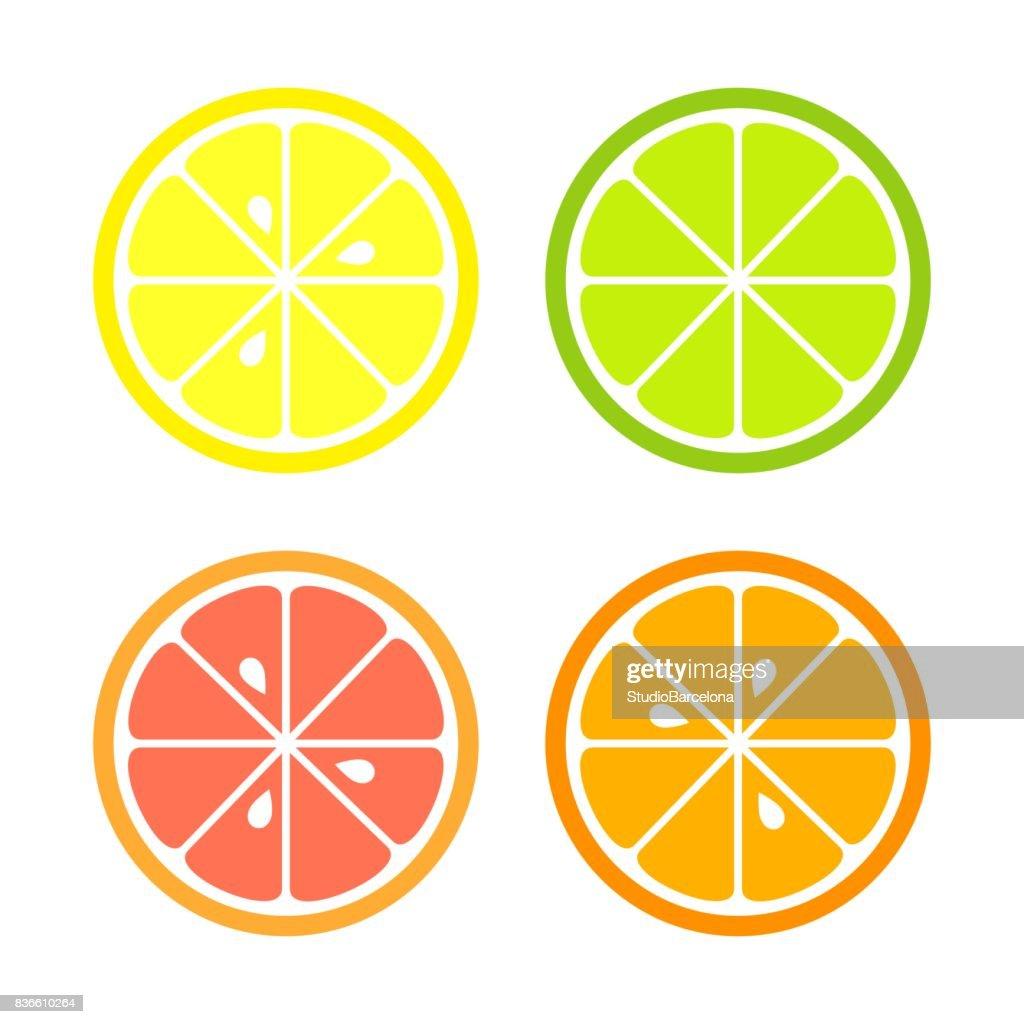 Citrus slices icons