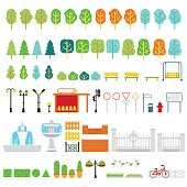 City and park map vector elements in flat design