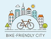 City and Touring Bike. Bike-Friendly City Sign