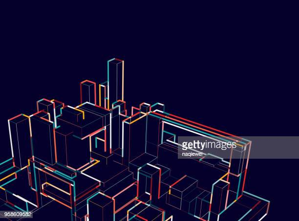 city architecture structure in night - point of view stock illustrations