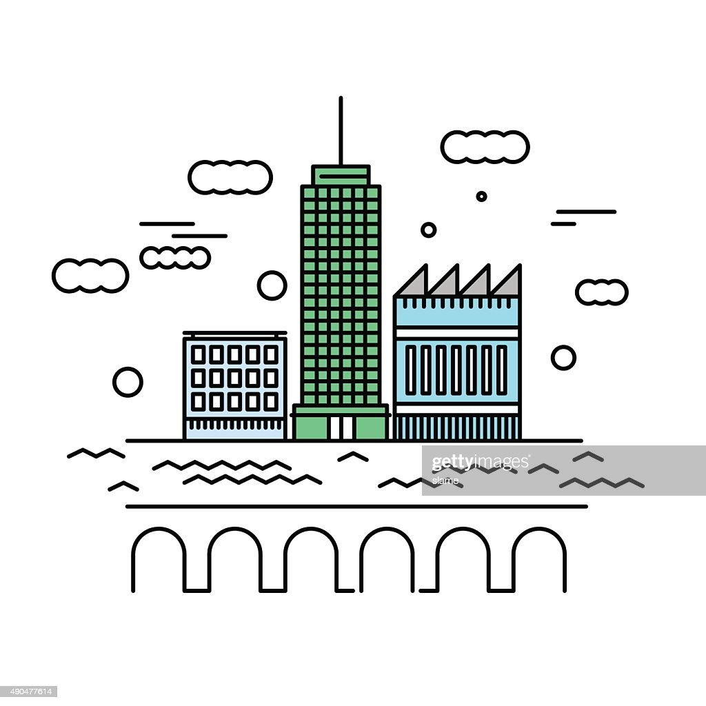 City architecture vector illustration. Urban landscape with skys