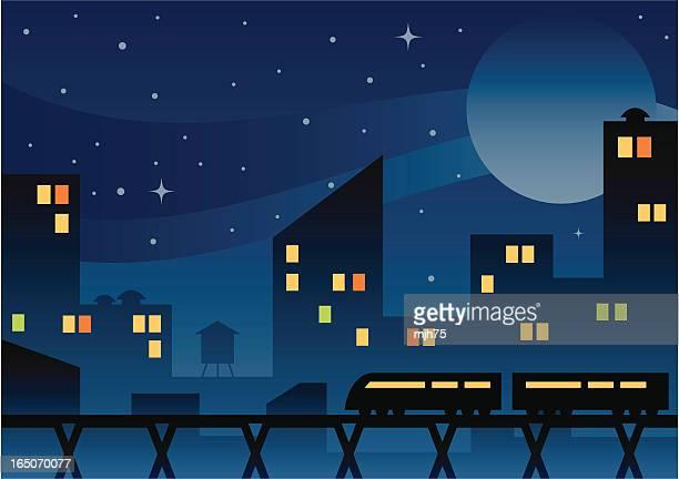 city at night - midnight stock illustrations