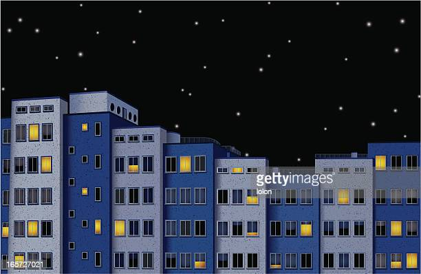 city at night - blinds stock illustrations, clip art, cartoons, & icons
