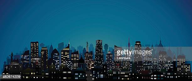 city at night (123 highly detailed buildings) - generic location stock illustrations
