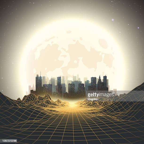 illustrations, cliparts, dessins animés et icônes de ville de nuit avec lune résumé retrowave fond de style années 80 - ville futuriste