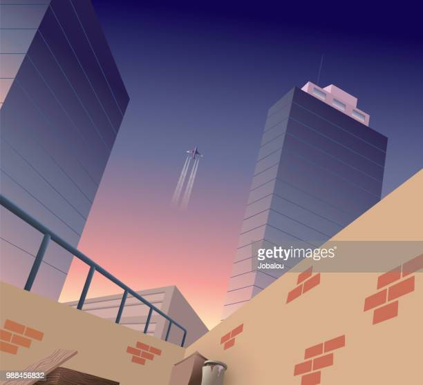 city background at dusk - corner of building stock illustrations, clip art, cartoons, & icons